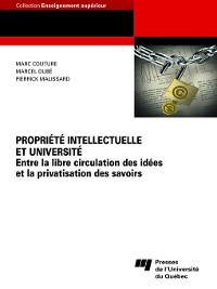 Cover Propriété intellectuelle et université