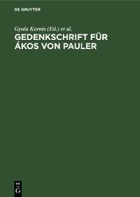 Cover Gedenkschrift für Ákos von Pauler