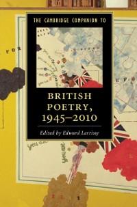 Cover Cambridge Companion to British Poetry, 1945-2010