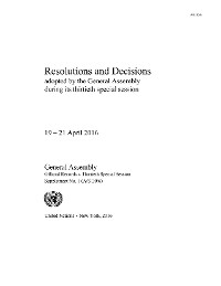 Cover Resolutions and Decisions Adopted by the General Assembly During Its Thirtieth Special Session