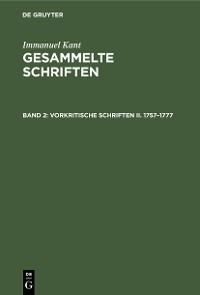 Cover Vorkritische Schriften II. 1757–1777