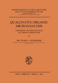 Cover Qualitative Organic Microanalysis