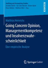 Cover Going Concern Opinion, Managementkompetenz und Insolvenzwahrscheinlichkeit