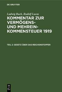 Cover Gesetz über das Reichsnotopfer