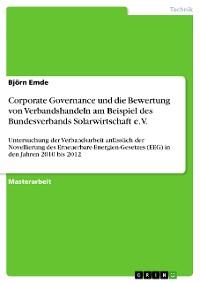 Cover Corporate Governance und die Bewertung von Verbandshandeln am Beispiel des Bundesverbands Solarwirtschaft e. V.