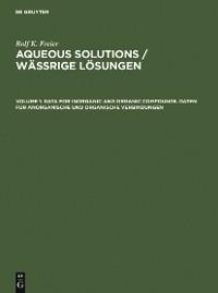 Cover Data for Inorganic and Organic Compounds. Daten für Anorganische und Organische Verbindungen