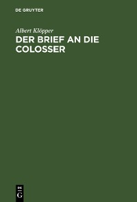 Cover Der Brief an die Colosser