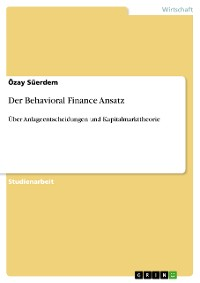 Cover Der Behavioral Finance Ansatz