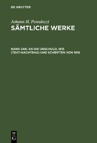 Cover An die Unschuld, 1815 (Text-Nachtrag) und Schriften von 1816