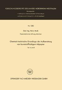 Cover Chemisch-technische Grundlage der Aufbereitung von kunststoffhaltigem Altpapier