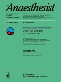 Cover Zentraleuropoischer Anaesthesiekongress ZAK 83 Zurich
