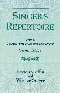 Cover The Singer's Repertoire, Part V