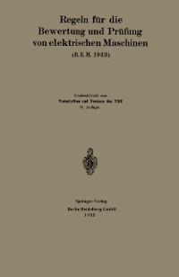 Cover Regeln fur die Bewertung und Prufung von elektrischen Maschinen (R.E.M. 1923)