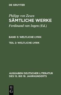 Cover Weltliche Lyrik