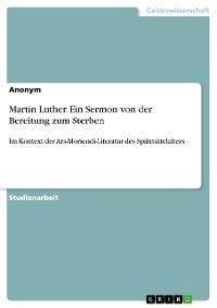 Cover Martin Luther. Ein Sermon von der Bereitung zum Sterben