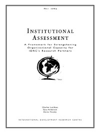Cover Institutional Assessment