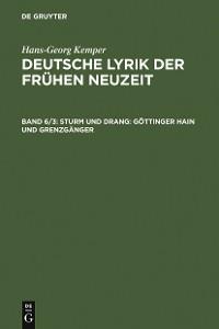 Cover Sturm und Drang: Göttinger Hain und Grenzgänger