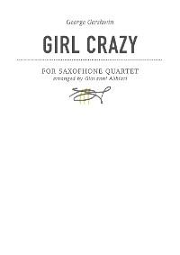 Cover George Gershwin Girl Crazy for saxophone quartet
