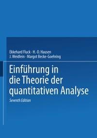Cover Einfuhrung in die Theorie der quantitativen Analyse