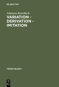 Cover Variation – Derivation – Imitation