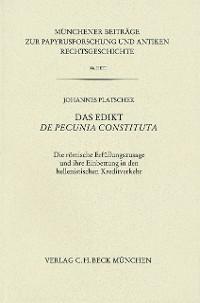 Cover Münchener Beiträge zur Papyrusforschung Heft 106: Das Edikt De pecunia constituta