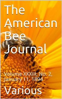 Cover The American Bee Journal, Volume XXXIII, No. 2, January 11, 1894