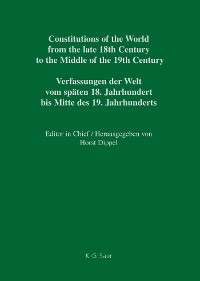 Cover Constitutional Documents of Belgium, Luxembourg and the Netherlands 1789–1848