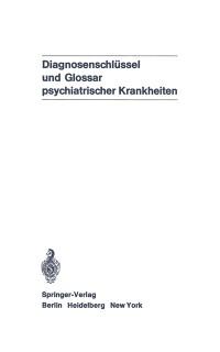 Cover Diagnosenschlussel und Glossar psychiatrischer Krankheiten