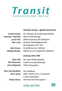 Cover Transit 37. Europäische Revue