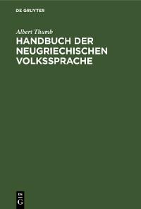 Cover Handbuch der neugriechischen Volkssprache