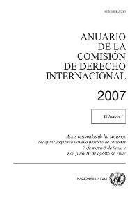 Cover Anuario de la Comisión de Derecho Internacional 2007, Vol. I