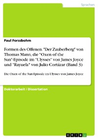 """Cover Formen des Offenen. """"Der Zauberberg"""" von Thomas Mann, die """"Oxen of the Sun""""-Episode im """"Ulysses"""" von James Joyce und """"Rayuela"""" von Julio Cortázar (Band 3)"""