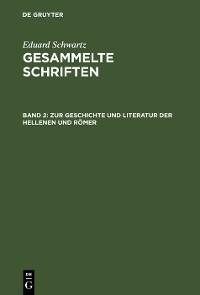 Cover Zur Geschichte und Literatur der Hellenen und Römer