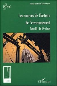 Cover Les sources de l'histoire de l'environnement