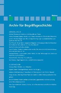 Cover Archiv für Begriffsgeschichte / Archiv für Begriffsgeschichte. Band 44
