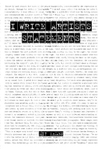 Cover I Write Artist Statements