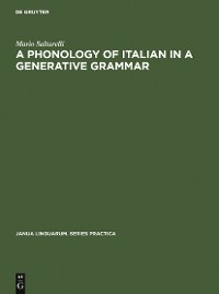 Cover A Phonology of Italian in a Generative Grammar