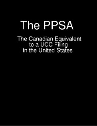 Cover The PPSA  -  The Canadian Equivalent to a UCC Filing in the United States