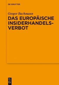 Cover Das Europäische Insiderhandelsverbot