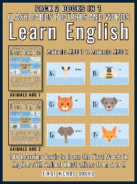 Cover Pack 2 Books in 1 - Animals ABC 1 and Animals ABC 2 - Flash Cards Pictures and Words Learn English