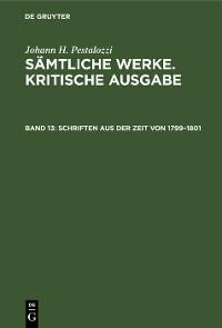 Cover Schriften aus der Zeit von 1799–1801