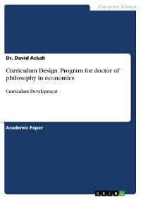Cover Curriculum Design. Program for doctor of philosophy in economics