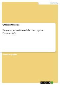 Cover Business valuation of the enterprise Daimler AG