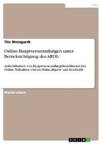 Cover Online-Hauptversammlungen unter Berücksichtigung des ARUG