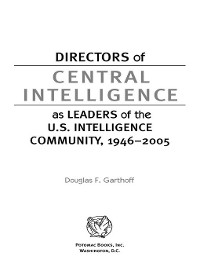 Cover Directors of Central Intelligence as Leaders of the U.S. Intelligence Community, 1946-2005
