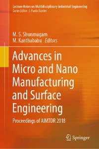 Cover Advances in Micro and Nano Manufacturing and Surface Engineering