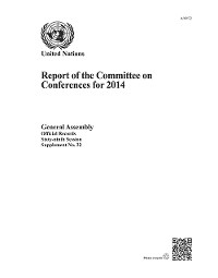 Cover Report of the Committee on Conferences for 2014