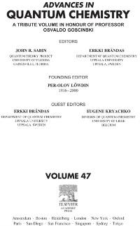 Cover Advances in Quantum Chemistry