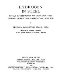 Cover Hydrogen in Steel