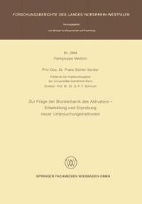Cover Zur Frage der Biomechanik des Aktivators - Entwicklung und Erprobung neuer Untersuchungsmethoden